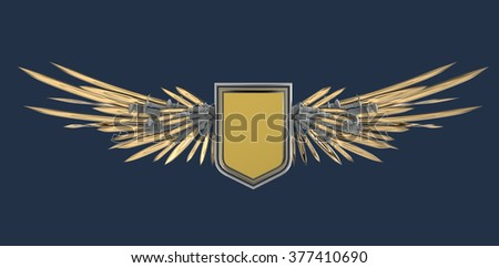 Realistic blank shield with stylized wings made of swords, blades and daggers, high quality 3d rendering, isolated. Logo, badge, achievement, sign, design element