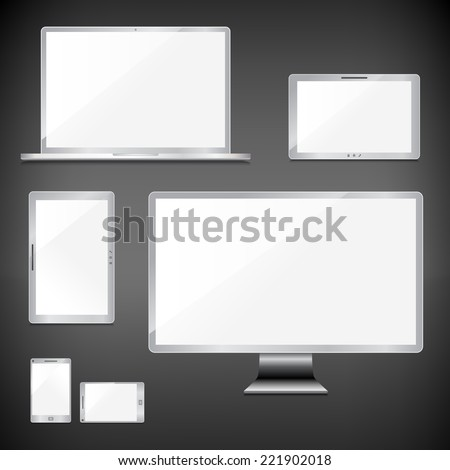 Realistic blank sliver screens set on dark background - stock photo