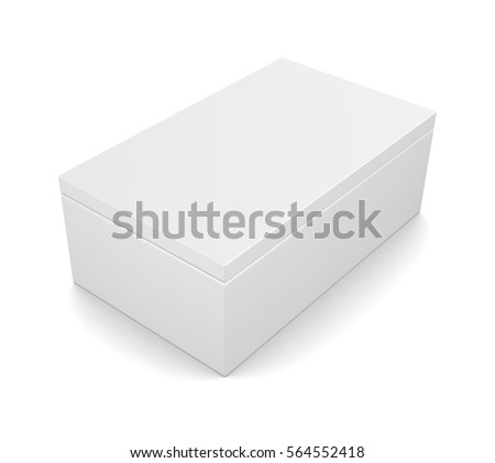 Realistic blank white box isolated on white background. 3d render