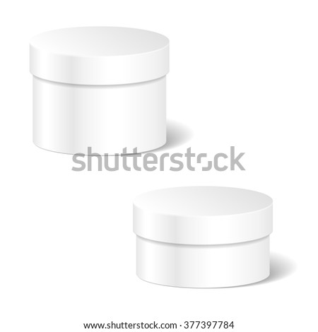 Realistic Blank White Product Package Box Mock Up Set To Advertise Goods. Cylindrical Container With Lid. Packaging Template - stock photo