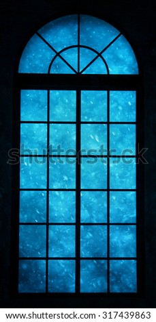 Realistic blue color heavy snowfall view through closed framed window.