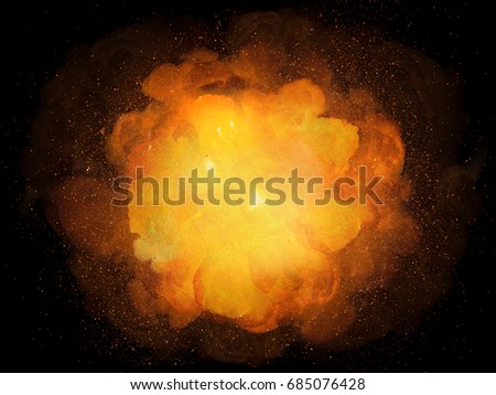 Realistic bomb explosion, orange color with sparks isolated on black background