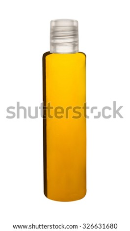 Realistic bottles for yellow shampoos, conditioners, lotion. Isolated on white background