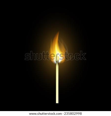 realistic burning match - stock photo