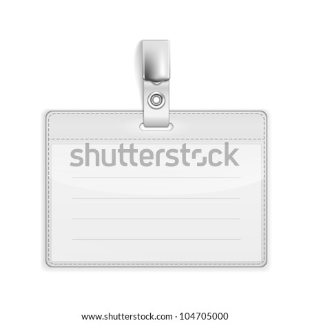Realistic Card Name or Id Holder isolated on white - stock photo
