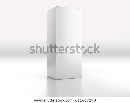 Realistic cardboard box on white background. White container, packaging.