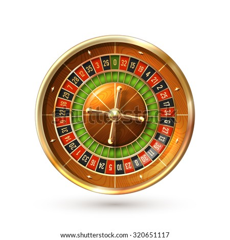Realistic casino gambling roulette wheel isolated on white background  illustration
