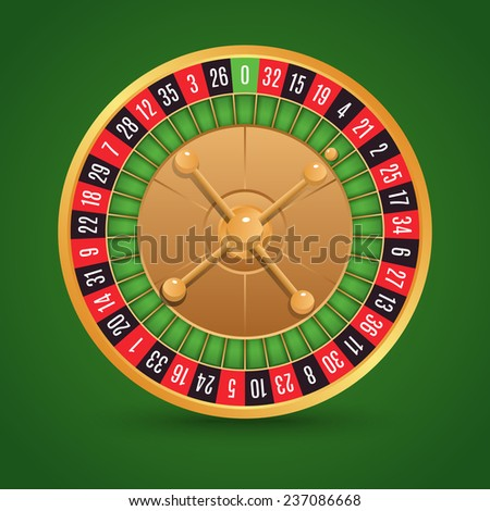 Realistic casino roulette isolated on green background  illustration