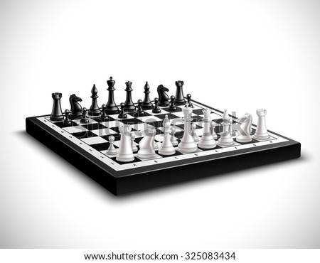 Realistic chess board with 3d black and white figures set  illustration