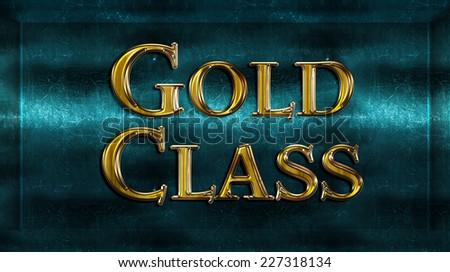 Realistic Chick Metal Golden Class Award Sign Emblem - stock photo