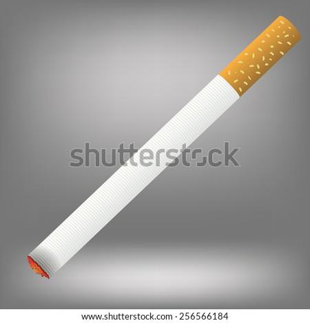 Realistic cigarette  on a grey background. Cigarette burns.      - stock photo