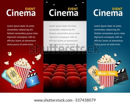 Realistic Cinema Movie Poster Template Vertical Set Illustration
