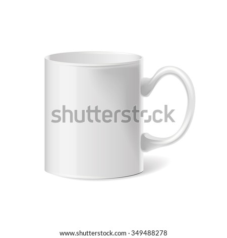 realistic classic white cup,  illustration eps 10 - stock photo
