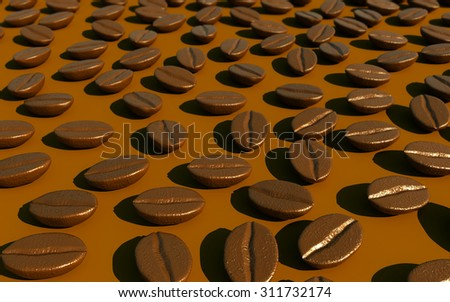 Realistic Coffee beans background,3d - stock photo