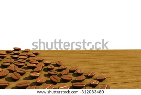 Realistic Coffee beans on brown wood with space,3d - stock photo