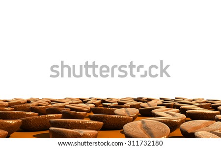 Realistic Coffee beans with space,3d - stock photo