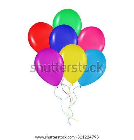 realistic colorful balloons bunch background, holidays, greetings, wedding, happy birthday, partying on a white background