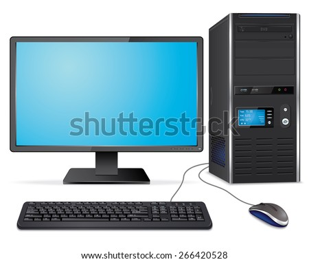 Realistic computer case with monitor,keyboard and mouse - stock photo