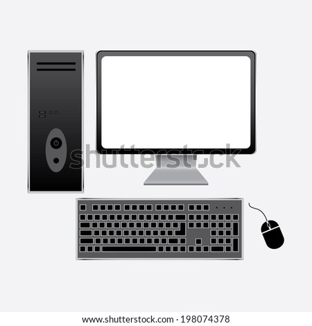 Realistic computer with wireless keyboard and mouse