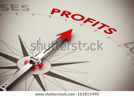 Realistic conceptual 3D render image with depth of field blur effect. Compass with the needle pointing the word profits, paper background. Concept for making profits or business solutions. - stock photo