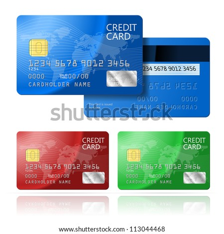 Realistic Credit Card two sides, blue, green, red - stock photo