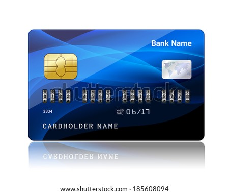Realistic credit card with security combination code lock for financial protection concept isolated  illustration - stock photo