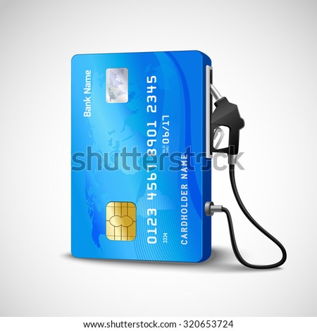 Realistic credit with fuel hose gas station concept  illustration - stock photo