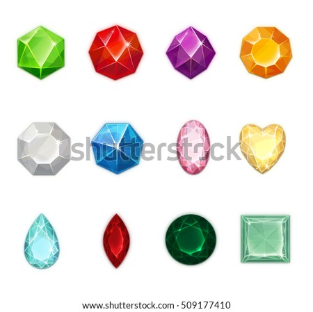 Realistic Crystals For Match-3 Game