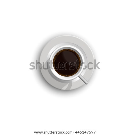 Realistic cup of coffee with foam isolated on white background.