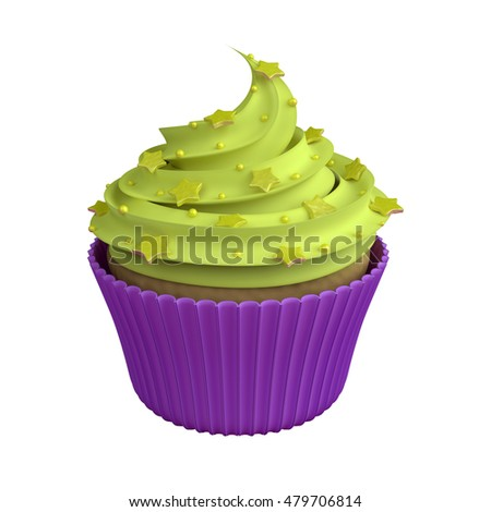 Realistic cupcake isolated on white background, illustration of beautiful sweet 3D dessert with apple custard