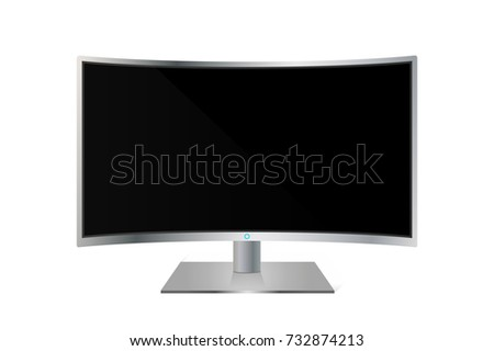 Realistic curved TV monitor isolated