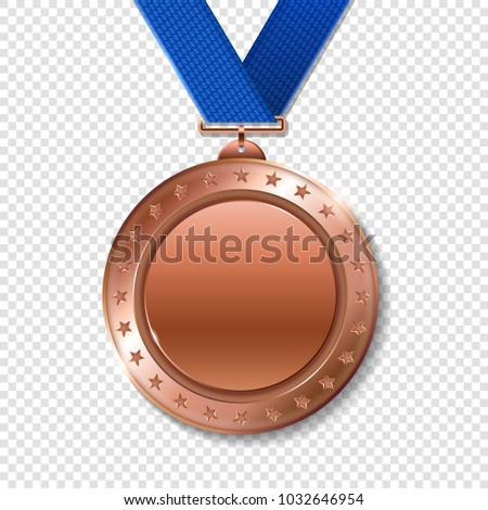 Realistic 3d bronz trophy champion award medal for winner. 