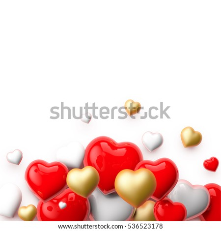 Realistic 3D Colorful Romantic Valentine Hearts Background. Valentine's Day Card.