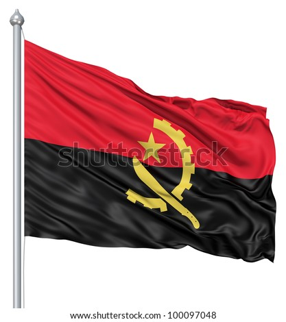 Realistic 3d flag of Angola fluttering in the wind. - stock photo