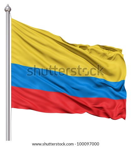 Realistic 3d flag of Colombia fluttering in the wind. - stock photo