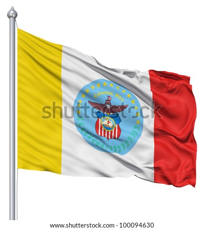 Realistic 3d flag of Columbus fluttering in the wind. - stock photo