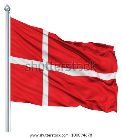 Realistic 3d flag of Denmark fluttering in the wind. - stock photo