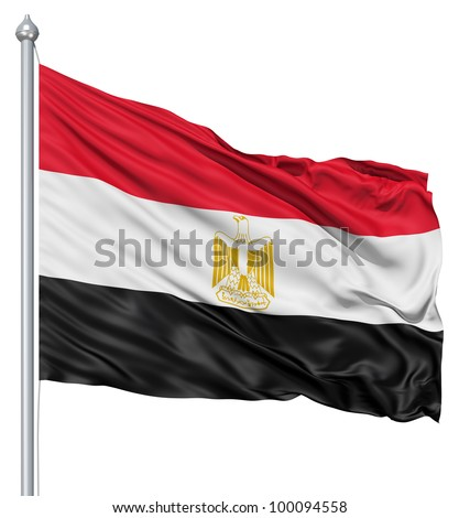 Realistic 3d flag of Egypt fluttering in the wind. - stock photo