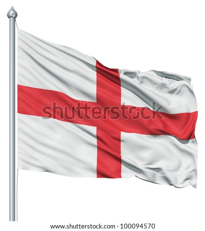 Realistic 3d flag of England fluttering in the wind.