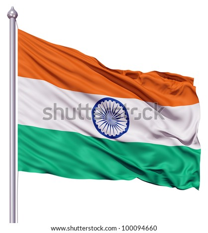 Realistic 3d flag of India fluttering in the wind. - stock photo