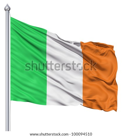 Realistic 3d flag of Italy fluttering in the wind. - stock photo