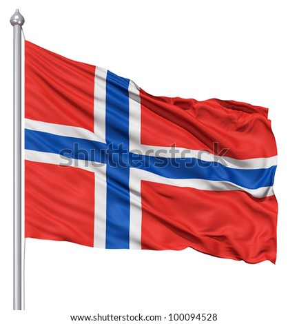 Realistic 3d flag of Norway fluttering in the wind. - stock photo