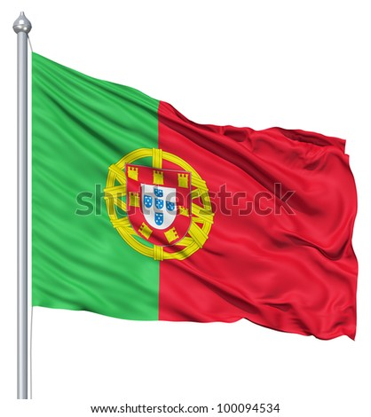 Realistic 3d flag of Portugal fluttering in the wind. - stock photo