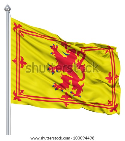 Realistic 3d flag of Scotland fluttering in the wind. - stock photo