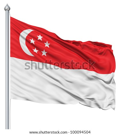 Realistic 3d flag of Singapore fluttering in the wind. - stock photo