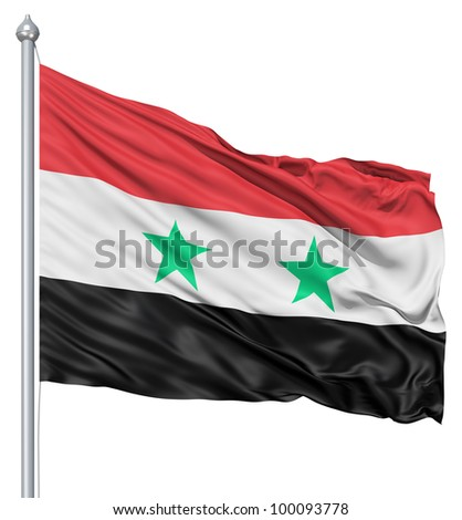 Realistic 3d flag of Syria fluttering in the wind. - stock photo