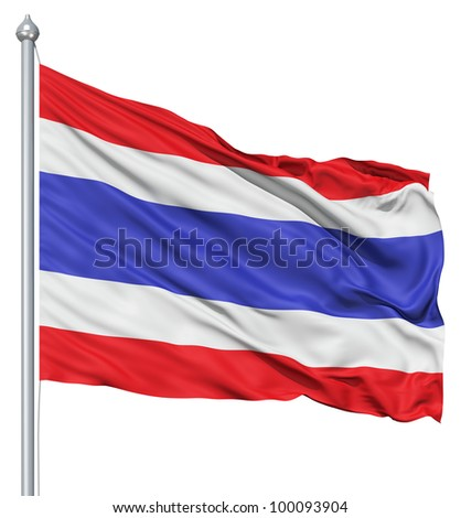 Realistic 3d flag of Thailande fluttering in the wind. - stock photo