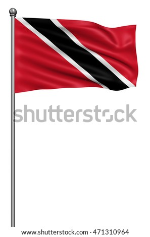 Realistic 3d flag of Trinidad and Tobago fluttering in the wind,3d illustration