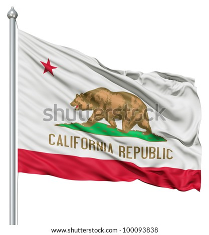 Realistic 3d flag of United States of America California fluttering in the wind. - stock photo