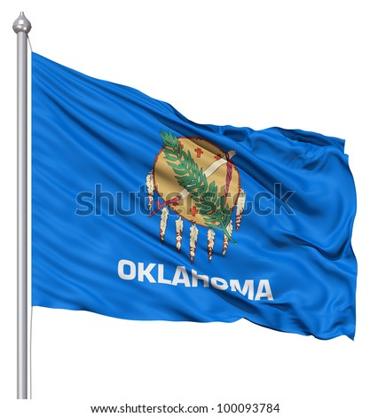 Realistic 3d flag of United States of America Oklahoma fluttering in the wind. - stock photo
